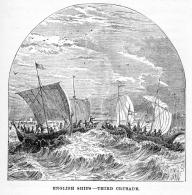 Vintage engraving showing English Ships sailing to the Third Crusade